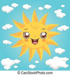 Sky with cartoon sun and clouds