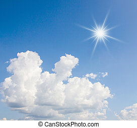 Sky with clouds and sun.
