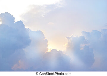 Sky with clouds and sunbeam vibrant