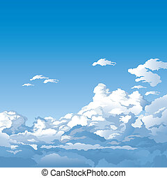 Sky With Clouds, editable vector illustration