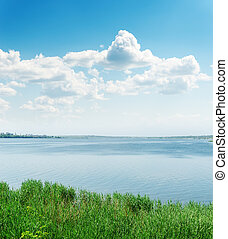 sky with clouds over river