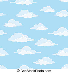 Sky with clouds, seamless - Cloudscape seamless background,...