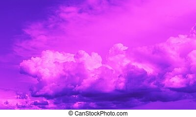 Timelapse of clouds in neon colors - Sky with clouds....