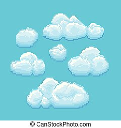 Sky with clouds vector pixel art. Cloudscape background for retro game