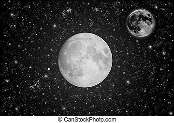 Sky with full moon and stars.