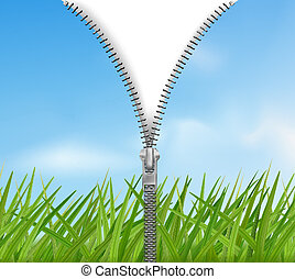 Sky with grass background with zipper. Vector.