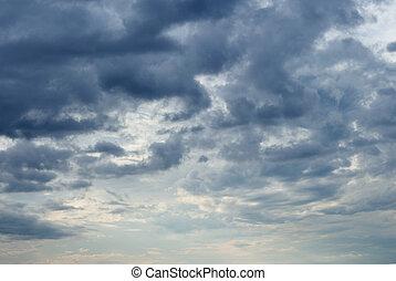 Sky with heavy dark clouds