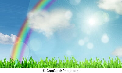 Natural sky with rainbow and cloud like a heart motion background (seamless loop)