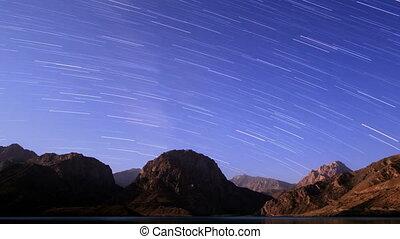 Sky with stripes. Panorama. Tajikistan, Iskander-Kul. Time Lapse
