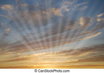 Sky with sun rays