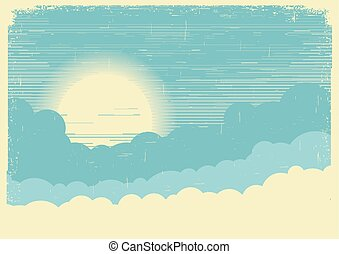 Sky with sun. Vector background illustration for text