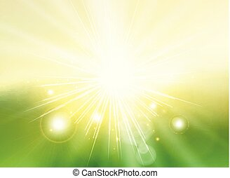 Sky with sunlight rays twilight blurred green gradient abstract background landscape.