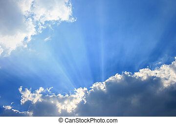 Sky with sunray - Sky and cloud with sunray, sunbeam