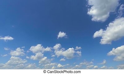 sky with white cloud moving for sky background - blue sky...