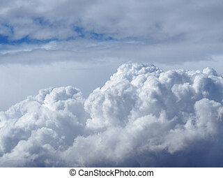 Sky with white fluffy clouds