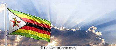 sky., zimbabwe, blu, illustrazione, bandiera, 3d