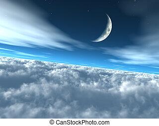 skyarna, himmelsk, mån, sky