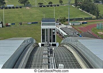 Skycar arrive - Moses Mabhida stadium in Durban, South...