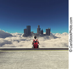 Skycrapers above clouds - Man looking skyscrapers over the ...