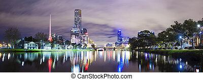 Skycrapers along the Yarra River in Melbourne - Panoramic ...