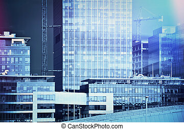 Skycrapers in business area. Business, finance concept.