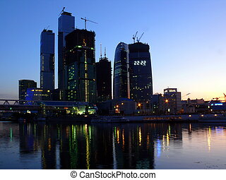 skycrapers in Moscow city - summer evening