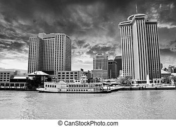 Skycrapers of New Orleans with Mississippi River, Louisiana...