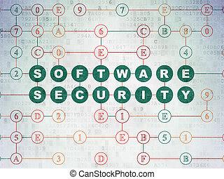 skydd, concept:, mjukvara, säkerhet, på, digital, data, papper, bakgrund