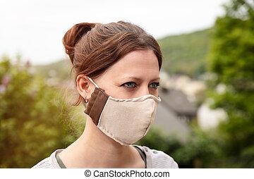 skydd, förhindrande, ansikte, hemlagat, tyg, bära maskera, coronavirus, tyg, kvinna, covid-19