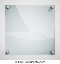 skydd, glas platt, fäst, till, vita vägg, med, metall,...