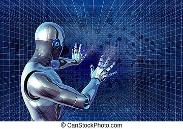 skydd, illustration., robot, 3