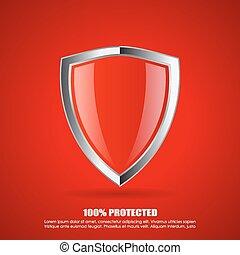 skydd, skydda, röd, ikon