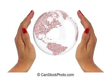 skydda, begrepp, data, klot