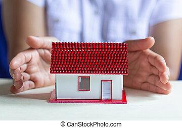 skydda, begrepp, house., skydd, insurance., egenskap, din