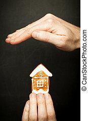 skydda, begrepp, hus, din, skydd, försäkring