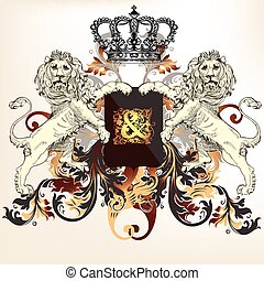 skydda, bevingat, heraldisk, häst, lejon, design