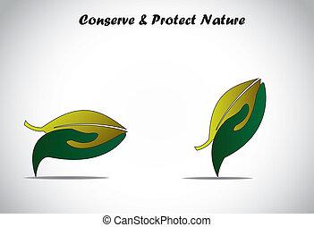 skydda, blad, stor hand, grön, holdingen