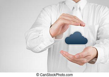 skydda, data, moln, beräkning