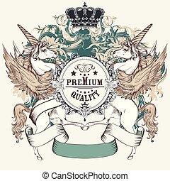 skydda, heraldisk, enhörningar, vecotr, ribbons.eps, design