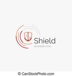 skydda, ordentlig, tunn, design, fodra, logo, ikon