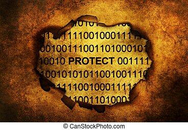 skydda, papper, data, hål