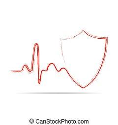skydda, skylt., illustration, vektor, hjärtslag, ikon