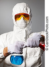 skyddande, forskare, ha på sig