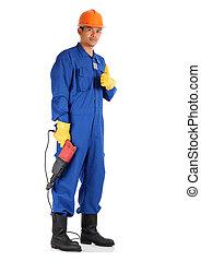 skyddande, fullständig, personlig, arbete, arbetare, utrustning, begrepp, elektrisk, asiat, drill, klar, säkerhet