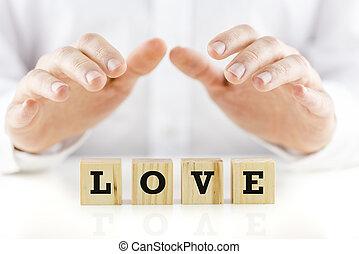 skyddande, kärlek, holdingen, ovanför, räcker, ord, man