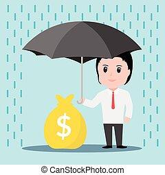 skyddar, paraply, regna, affärsman