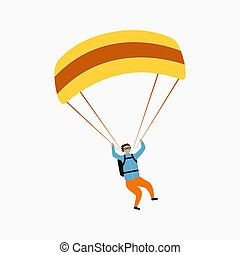 Skydiver flying with parachute. Skydiving, parachuting and extreme sport, active leisure concept. Vector