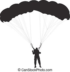 Skydiver, parachute man silhouette, black and white vector illustration.
