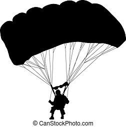 skydiver, parachuting, silhouettes, v