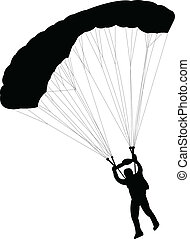 Skydiver silhouette- vector